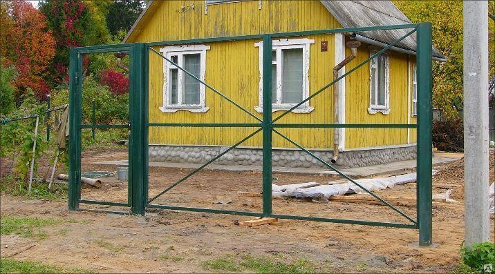 Ворота дачные дешево белый штакетник