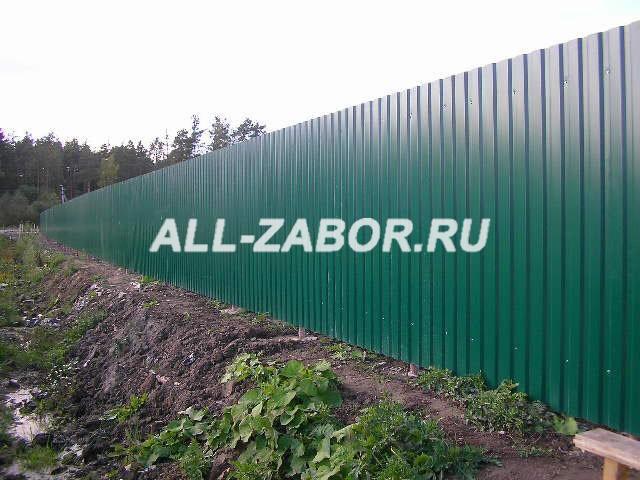 Забор из профлиста темно-зеленого цвета