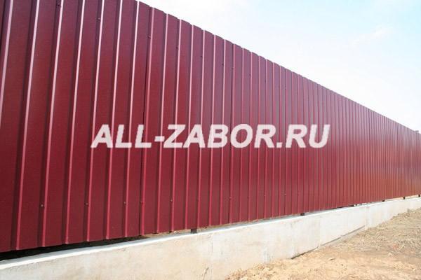 Забор из профнастила окрашенный с ленточным фундаментом